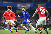 5th November 2017, Stamford Bridge, London, England; EPL Premier League football, Chelsea versus Manchester United; Marcos Alonso of Chelsea takes on Marouane Fellaini of Manchester Utd