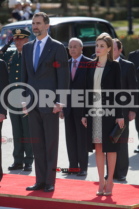 Spanish Royals King Felipe VI of Spain and Queen Letizia of Spain during the Colombia´s President Juan Manuel Santos and his wife Maria Clemencia Rodriguez welcome ceremony at the Pardo Palace in Madrid, Spain. March 01, 2015. (ALTERPHOTOS/Victor Blanco) /NORTEphoto.com