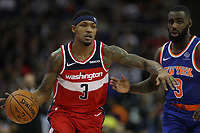 17th January 2019, The O2 Arena, London, England; NBA London Game, Washington Wizards versus New York Knicks; Bradley Beal of the Washington Wizards, guarded by Tim Hardaway Jr of the New York Knicks