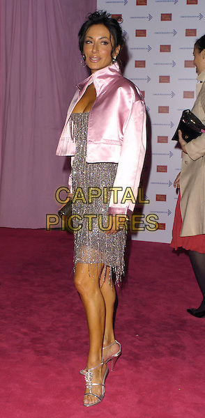 NANCY DELL'OLIO.Attends A Touch Of Pink Party,.madame tussards, London.England, October 5th 2006..full length pink silk satin cropped jacket silver grey beaded dress strappy sandals shoes.Ref: CAN.www.capitalpictures.com.sales@capitalpictures.com.©Can Nguyen/Capital Pictures