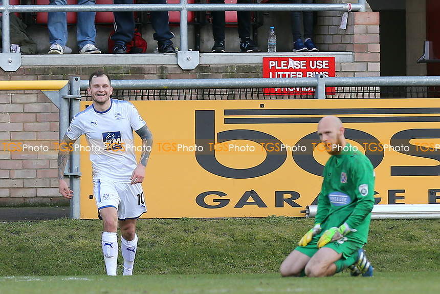 James Norwood of Tranmere Rovers celebrates scoring the second goal during Dagenham & Redbridge vs Tranmere Rovers, Vanarama National League Football at the Chigwell Construction Stadium on 10th March 2018