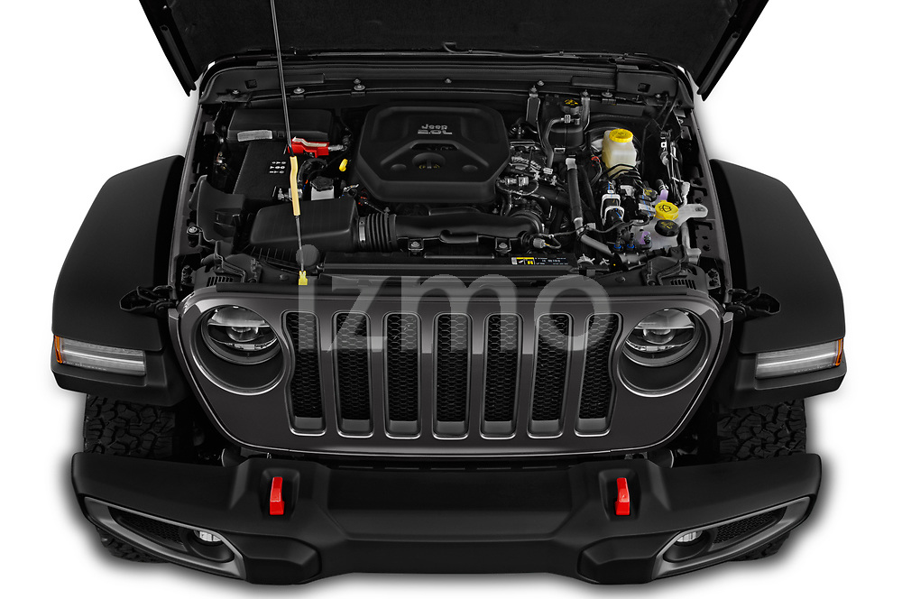Car Stock 2020 JEEP Wrangler Rubicon 5 Door SUV Engine  high angle detail view
