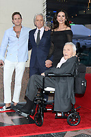 LOS ANGELES - NOV 6:  Cameron Douglas, Michael Douglas, Catherine Zeta-Jones, Kirk Douglas at the Michael Douglas Star Ceremony on the Hollywood Walk of Fame on November 6, 2018 in Los Angeles, CA