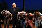 Robert James Waller and cast during the Pre-Opening Night Curtain Call for 'The Bridges of Madison County' with special guest Author Robert James Waller at The Gerald Schoenfeld Theatre on February 19, 2014 in New York City.