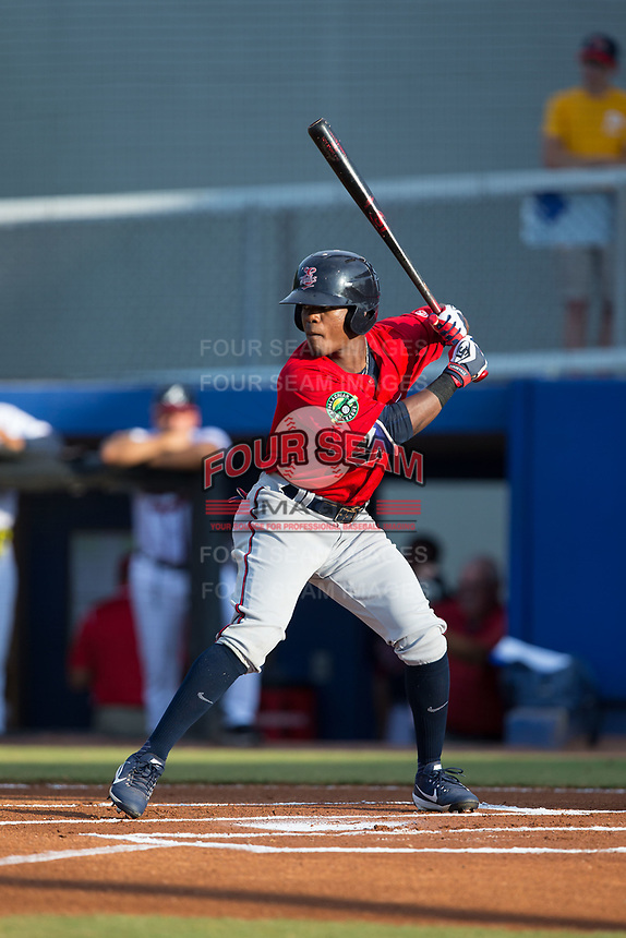 T.J. Dixon (41) of the Elizabethton Twins at bat against the Danville Braves at American Legion Post 325 Field on July 1, 2017 in Danville, Virginia.  The Twins defeated the Braves 7-4.  (Brian Westerholt/Four Seam Images)