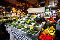Granville Island Public Market, Vancouver, BC, British Columbia, Canada - Fresh Vegetables and Salad Greens for Sale at Farmer's Stall