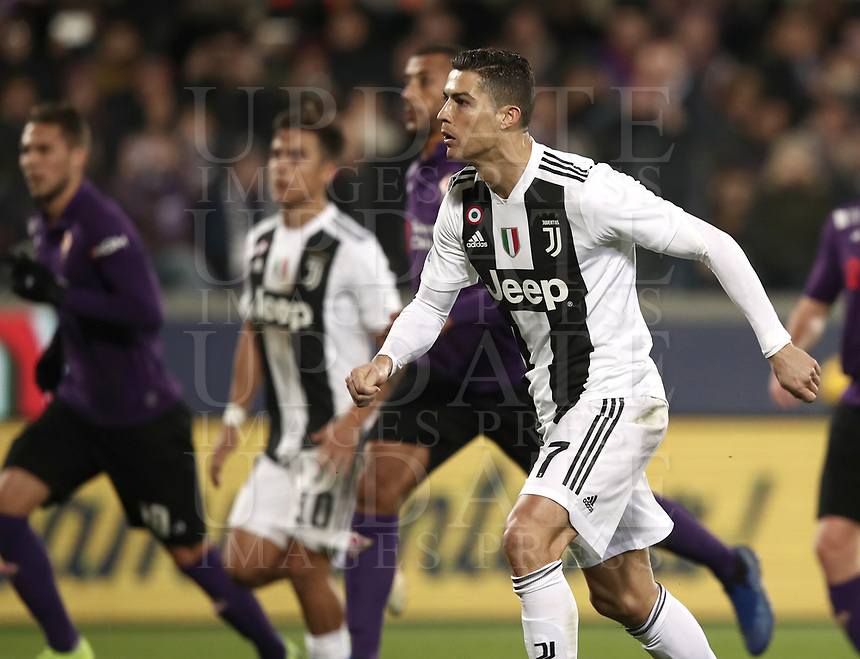 Calcio, Serie A: Fiorentina - Juventus, stadio Artemio Franchi Firenze 1 dicembre 2018.<br /> Juventus' Cristiano Ronaldo celebrates after scoring   during the Italian Serie A football match between Fiorentina and Juventus at Florence's Artemio Franchi stadium, December 1, 2018.<br /> UPDATE IMAGES PRESS/Isabella Bonotto