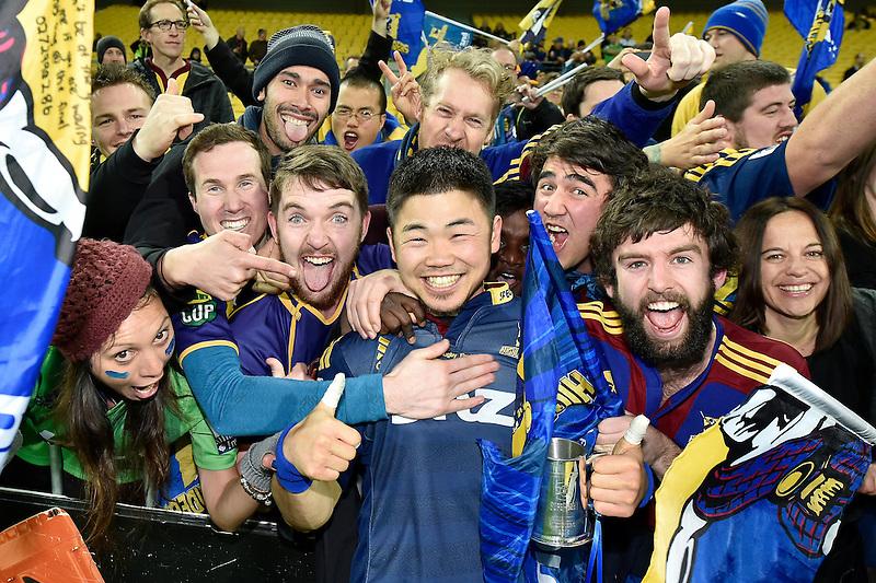 Fumiaki Tanaka celebrates with Fans at the Super Rugby Final - Hurricanes v Highlanders at Westpac Stadium, Wellington, New Zealand on Saturday 4 July 2015.<br /> Photo by Masanori Udagawa. <br /> www.photowellington.photoshelter.com.