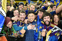 Fumiaki Tanaka celebrates with Fans at the Super Rugby Final - Hurricanes v Highlanders at Westpac Stadium, Wellington, New Zealand on Saturday 4 July 2015.<br /> Photo by Masanori Udagawa. <br /> www.photowellington.photoshelter.com.
