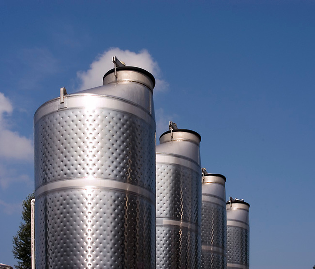 Stainless steel winery tanks glisten at a New Jersey winery