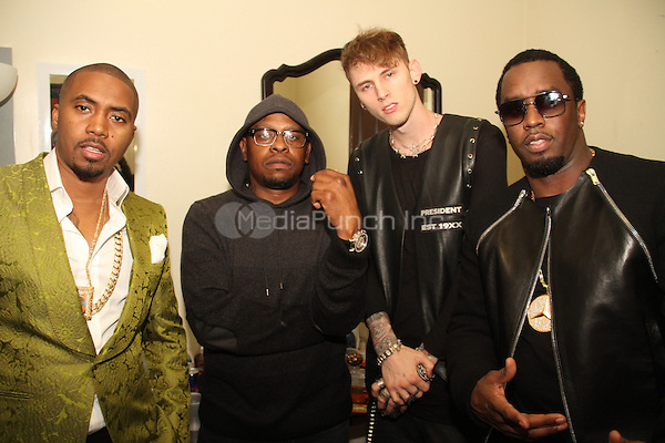 LOS ANGELES, CA - JANUARY 24: P Diddy, Scarface, Machine Gun Kelly and Nas backstage at the Beats Music Official Launch Party from Beats by Dr. Dre at Belasco Theatre on January 24, 2014 in Los Angeles, California. Credit: Walik Goshorn/MediaPunch
