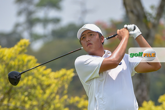 KK LIMBHASUT (THA) watches his tee shot on 3 during Rd 2 of the Asia-Pacific Amateur Championship, Sentosa Golf Club, Singapore. 10/5/2018.<br /> Picture: Golffile   Ken Murray<br /> <br /> <br /> All photo usage must carry mandatory copyright credit (© Golffile   Ken Murray)