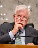 "Washington, D.C. - July 24, 2007 -- United States Senator Edward M. ""Ted"" Kennedy (Democrat of Massachusetts),listens to the testimony of United States Attorney General Alberto Gonzales before the United States Senate Judiciary Committee hearing on ""Oversight of the United States Department of Justice"" on Capitol Hill in Washington, D.C. on Tuesday, July 24, 2007.  Gonzales took questions on his role in the firing of federal prosecutors.<br /> Credit: Ron Sachs / CNP"