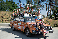 Vintage Eddy Merckx bikes mounted atop a Molteni Team Car serve as a backdrop for the 'Monopoly Koers' press conference at the Sven Nys Cycling Centre in Baal (BEL).<br /> Creator and owner of these beautiful historic artefacts is Jo Helsen, cycling fanatic & also owner of popular vintage bar Welkom in Noorderwijk (BEL).<br /> Each year Jo (and his friends) follow each stage of the Tour de France independently and set up camp along the course and open up an impromptu cycling café (with his other collection of vintage, cycling-themed VW vans).<br /> <br /> ©kramon