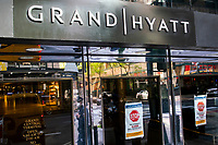 NEW YORK, NY - MAY 21:  One of the entrance of the International Hotel Grand Hyatt is seen shuttered during the outbreak of the COVID-19 pandemic on May 21, 2020 in New York City. United States have shuttered businesses like hotels, restaurants and retailers, pushing the economy into a deep recession, shedding more 20 million jobs and eliminating a decade's worth of growth, bringing the monthly unemployment rate. (Photo by Eduardo MunozAlvarez/VIEWpress)