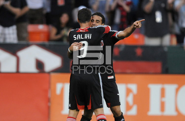 D.C. United forward Dwayne de Rosario (7) celebrates his score with teammate Hamdi Salihi (9) D.C. United defeated the Colorado Rapids 2-0 at RFK Stadium, Wednesday May 16, 2012.