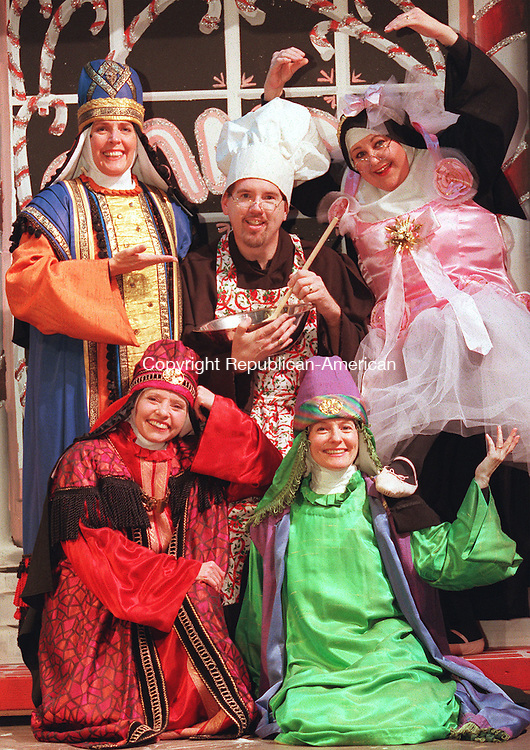 WATERBURY,CT-12/02/98-1202CK05.tif-Members of the cast of the Nuncrackers (Front  L-R) Semina De Laurentis and Christine Anderson.  (Back L-R)   Barbara Anne Neal, Tom Chute and Maureen Sadusk.      CASEY KEIL PHOTO. FOR WEEKENDER COVER.