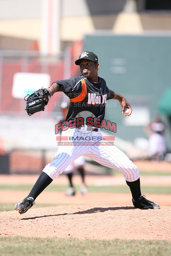 April 15th 2008:  Pitcher Juan Cedeno (24) of the Erie Seawolves, Class-AA affiliate of the Detroit Tigers, during a game at Jerry Uht Park in Erie, PA.  Photo by:  Mike Janes/Four Seam Images