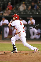 Peoria Chiefs third baseman Michael Schulze (4) at bat during a game against the Kane County Cougars on June 2, 2014 at Dozer Park in Peoria, Illinois.  Peoria defeated Kane County 5-3.  (Mike Janes/Four Seam Images)