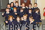 Pictured on their first day of school at Blennerville  national school, Tralee on Friday.Front from left: Kayla O'Connor, Emily O'Brien, Aidan Hayes and Brian Cavanagh..Middle: Brandon O'Connor Fitzgerald, Sinead Knightly, Grainne O'Donnell, Sean O'Mahony, Mairead Stack.Back: Bemjamin Jones, Teacher Rose O'Connor, Sam O'Connor, Caitlin O'Grady, Sam O'Connor and Cyprian Wronowski.