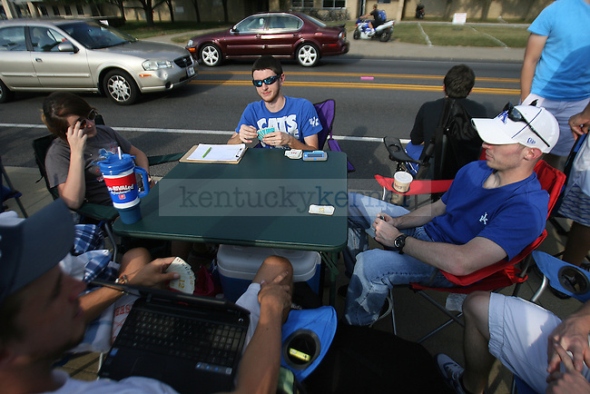 Fans wait for the campout to begin for Big Blue Madness in Lexington, Ky., on Tuesday, October 1, 2013. Fans are not allowed to set up tents until 5am on Wednesday. Photo by Michael Reaves | Staff