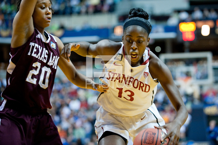 INDIANAPOLIS, IN - APRIL 3, 2011: Chiney Ogwumike drives at Conseco Fieldhouse against Texas A&M at Conseco Fieldhouse during the NCAA Final Four  in Indianapolis, IN on April 1, 2011.