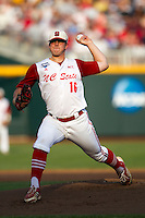North Carolina State pitcher Carlos Rodon (16) delivers a pitch to the plate during Game 10 of the 2013 Men's College World Series against the North Carolina Tar Heels on June 20, 2013 at TD Ameritrade Park in Omaha, Nebraska. The Tar Heels defeated the Wolfpack 7-0, eliminating North Carolina State from the tournament. (Andrew Woolley/Four Seam Images)