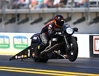 Mar 18, 2017; Gainesville , FL, USA; NHRA pro stock motorcycle rider Andrew Hines during qualifying for the Gatornationals at Gainesville Raceway. Mandatory Credit: Mark J. Rebilas-USA TODAY Sports