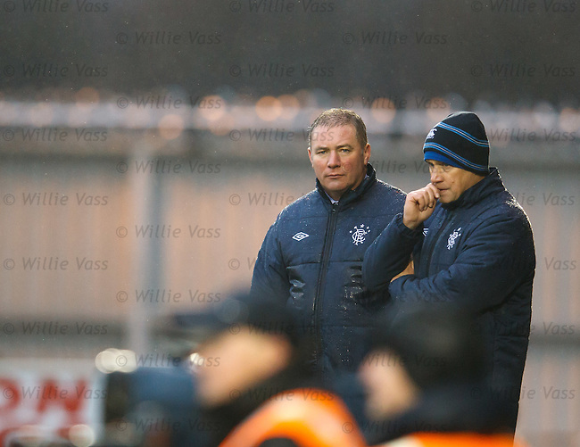 Ally McCoist and Kenny McDowall looking grim as 9 man Rangers are consigned to defeat at St Mirren