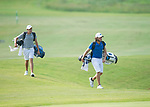 MUSCLE SHOALS, AL - MAY 25: West Florida's Carlos Marrero and Lynn's Jorge Villar walk to the fourth green during the Division II Men's Team Match Play Golf Championship held at the Robert Trent Jones Golf Trail at the Shoals, Fighting Joe Course on May 25, 2018 in Muscle Shoals, Alabama. Lynn defeated West Florida 3-2 to win the national title. (Photo by Cliff Williams/NCAA Photos via Getty Images)