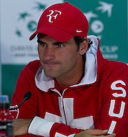Roger Federer (SUI) press conference after his match  against Bernard Tomic (AUS) in the Fourth Rubber. Roger Federer beat Bernard Tomic  6-2 7-5 3-6 6-3...Tennis - Davis Cup - World Group - Royal Sydney Golf Club - Sydney - Day 3 - Sunday September 18th 2011..© AMN Images, Barry House, 20-22 Worple Road, London, SW19 4DH, UK..+44 208 947 0100.www.amnimages.photoshelter.com.www.advantagemedianetwork.com.
