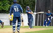 Issued by Cricket Scotland - Scotland V Sri Lanka 2nd One Day International at Grange CC, Edinburgh - as the rain begins to fall, Scotlands Matthew Cross (batting with George Munsey) hits the ball past square leg for four to bring up his 2nd ODI 50 - picture by Donald MacLeod - 21.05.19 - 07702 319 738 - clanmacleod@btinternet.com - www.donald-macleod.com