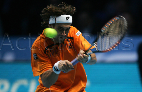 23.11.2010 Barclays ATP World Tour Finals from the O2 in London, day three. David Ferrer in action against  Robin Soderling