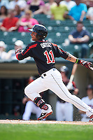 Rochester Red Wings outfielder Danny Ortiz (11) at bat during a game against the Norfolk Tides on May 3, 2015 at Frontier Field in Rochester, New York.  Rochester defeated Norfolk 7-3.  (Mike Janes/Four Seam Images)