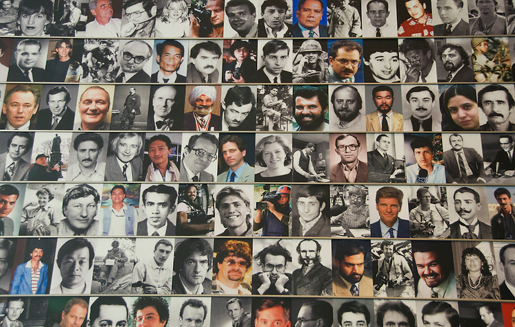 Washington DC; USA: The Newseum, which celebrates the media and its effect on the public.  Newsgathering and its effect on our lives.  Journalist Memorial display honors with their portraits 1,800 journalists who died while gathering the news..Photo copyright Lee Foster Photo # 13-washdc80038
