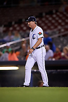 Connecticut Tigers hitting coach Bill Springman (22) walks to the mound during a game against the Hudson Valley Renegades on August 20, 2018 at Dodd Stadium in Norwich, Connecticut.  Hudson Valley defeated Connecticut 3-1.  (Mike Janes/Four Seam Images)