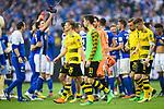 15.04.2018, VELTINS Arena, Gelsenkirchen, Deutschland, GER, 1. FBL, FC Schalke 04 vs. Borussia Dortmund, im Bild Lukasz Piszczek (#26 Dortmund), Julian Weigl (#33 Dortmund), Roman B&uuml;rki / Buerki (#38 Dortmund), Marcel Schmelzer (#29 Dortmund), Marco Reus (#11 Dortmund) entt&auml;uscht / enttaeuscht / traurig nach Niederlage<br /> <br /> Foto &copy; nordphoto / Kurth
