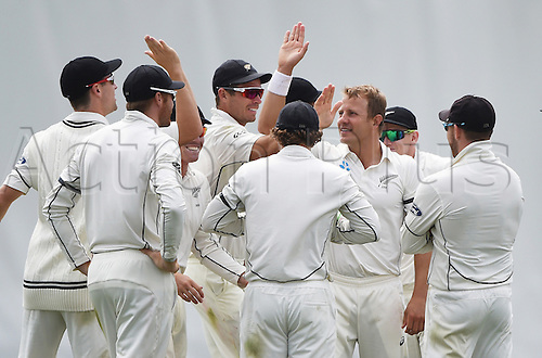 22.02.2016. Christchurch, New Zealand.  Neil Wagner celebrates the wicket of Marsh on Day 3 of the 2nd test match. New Zealand Black Caps versus Australia. Hagley Oval in Christchurch, New Zealand. Monday 22 February 2016.