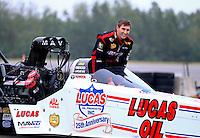 Aug 17, 2014; Brainerd, MN, USA; NHRA top fuel dragster driver Morgan Lucas celebrates after winning the Lucas Oil Nationals at Brainerd International Raceway. Mandatory Credit: Mark J. Rebilas-