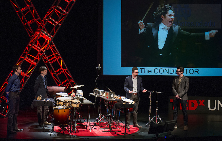 "Jan. 21, 2014; Ensemble, Third Coast Percussion deliver their talk titled, ""Never Compromise, Collaborate,"" followed by a performance during the TEDxUND 2014 event in the Debartolo Performing Arts Center. Photo by Barbara Johnston/University Photographer"