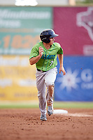 Lynchburg Hillcats left fielder Jodd Carter (7) runs the bases during a game against the Salem Red Sox on May 10, 2018 at Haley Toyota Field in Salem, Virginia.  Lynchburg defeated Salem 11-5.  (Mike Janes/Four Seam Images)