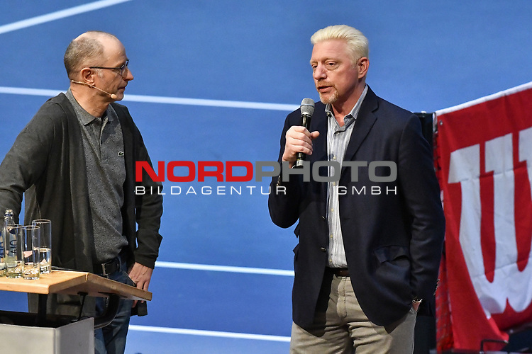 05.01.2018, Estrel Congress Center, Berlin, GER,  Internationaler DTB Tenniskongress 2019 <br /> <br /> im Bild Matthias Stach (li.) im Talk mit Boris Becker (re.)<br /> <br /> Foto © nordphoto/Mauelshagen