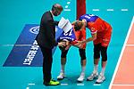 13.12.2017, Fraport Arena, Frankfurt<br />Volleyball, DVV-Pokal, Halbfinale, United Volleys RheinMain vs. VfB Friedrichshafen<br /><br />Michael Warm (Trainer / Coach RheinMain), Moritz Karlitzek (#13 RheinMain), Lukas Bauer (#5 RheinMain)<br /><br />  Foto &copy; nordphoto / Kurth