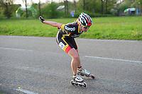 INLINE-SKATEN: STEENWIJK: Gagelsweg (start/finish), Schansweg, Meppelerweg, KPN Inline Cup, Klim van Steenwijk, 02-05-2012, Carla Zielman (#61), ©foto Martin de Jong