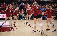 Stanford, CA - November 17, 2019: Sidney Wilson, Jenna Gray, Holly Campbell, Kathryn Plummer, Kate Formico, Meghan McClure at Maples Pavilion. #4 Stanford Cardinal defeated UCLA in straight sets in a match honoring neurodiversity.