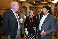From left, The Huntington Library, Art Collections, and Botanical Gardens President Steven Koblik, history professor and chair of the department Marla Stone and Ray A. Billington Visiting Professor of History Frank Guridy. The Occidental College History Department hosts a dinner for the Ray Allen Billington Visiting Professorship in United States History, which Oxy co-founded with the Huntington Library, November 17, 2014 in Dumke Commons, Swan Hall. (Photo by Marc Campos, Occidental College Photographer)