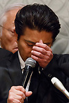 Tatsuya Yamaguchi member of the all-male pop group Tokio cries during a news conference on April 26, 2018, Tokyo, Japan. Yamaguchi apologized and expressed his deep regret for forcibly kissing a female high school student under alcohol influence. (Photo by Rodrigo Reyes Marin/AFLO)