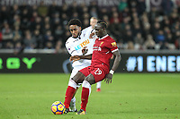 Sadio Mane of Liverpool & Leroy Fer of Swansea City during the Premier League match between Swansea City and Liverpool at the Liberty Stadium, Swansea, Wales on 22 January 2018. Photo by Mark Hawkins / PRiME Media Images.