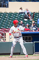 Stephen Piscotty (22) of the Memphis Redbirds at bat against the Omaha Storm Chasers in Pacific Coast League action at Werner Park on April 22, 2015 in Papillion, Nebraska.  (Stephen Smith/Four Seam Images)