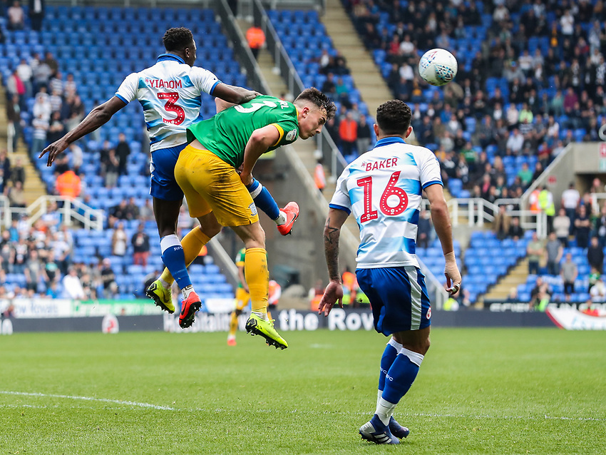 Preston North End's Josh Earl  competing with Reading's Andy Yiadom <br /> <br /> Photographer Andrew Kearns/CameraSport<br /> <br /> The EFL Sky Bet Championship - Reading v Preston North End - Saturday 30th March 2019 - Madejski Stadium - Reading<br /> <br /> World Copyright © 2019 CameraSport. All rights reserved. 43 Linden Ave. Countesthorpe. Leicester. England. LE8 5PG - Tel: +44 (0) 116 277 4147 - admin@camerasport.com - www.camerasport.com